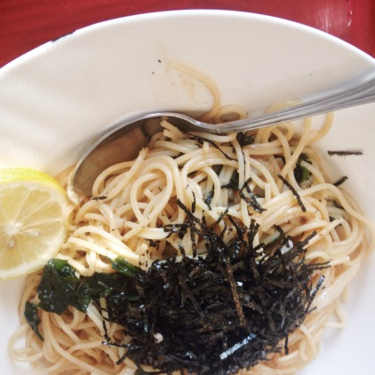 Japanese Style Cod Roe & Butter Sauce with Squid &a Seaweed